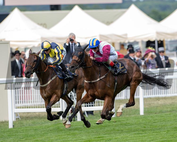 Lagostvegas, Andrea Atzeni, win the Ascot Stakes, Ascot Race Course, Ascot, UK, 6/19/18. Photo: Mathea Kelley