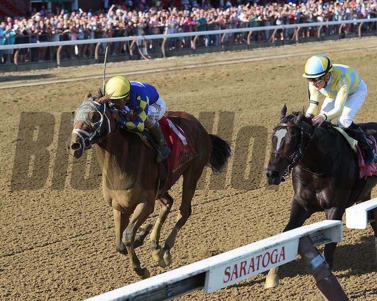 Sombeyay wins the Sanford Stakes at Saratoga Saturday, July 21, 2018. Photo: Coglianese Photos/Chelsea Durand