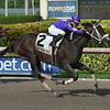 Deland wins the Coast is Clear Stakes at Gulfstream Park Sunday, July 22, 2018. Photo: Coglianese Photos/Leslie Martin