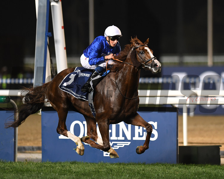Hawkbill, William Buick, win the Longines Dubai Sheema Classic, DWC 2018, Meydan Race Course, Dubai, UAE, 3-31-18, photo by Mathea Kelley/Dubai Racing Club