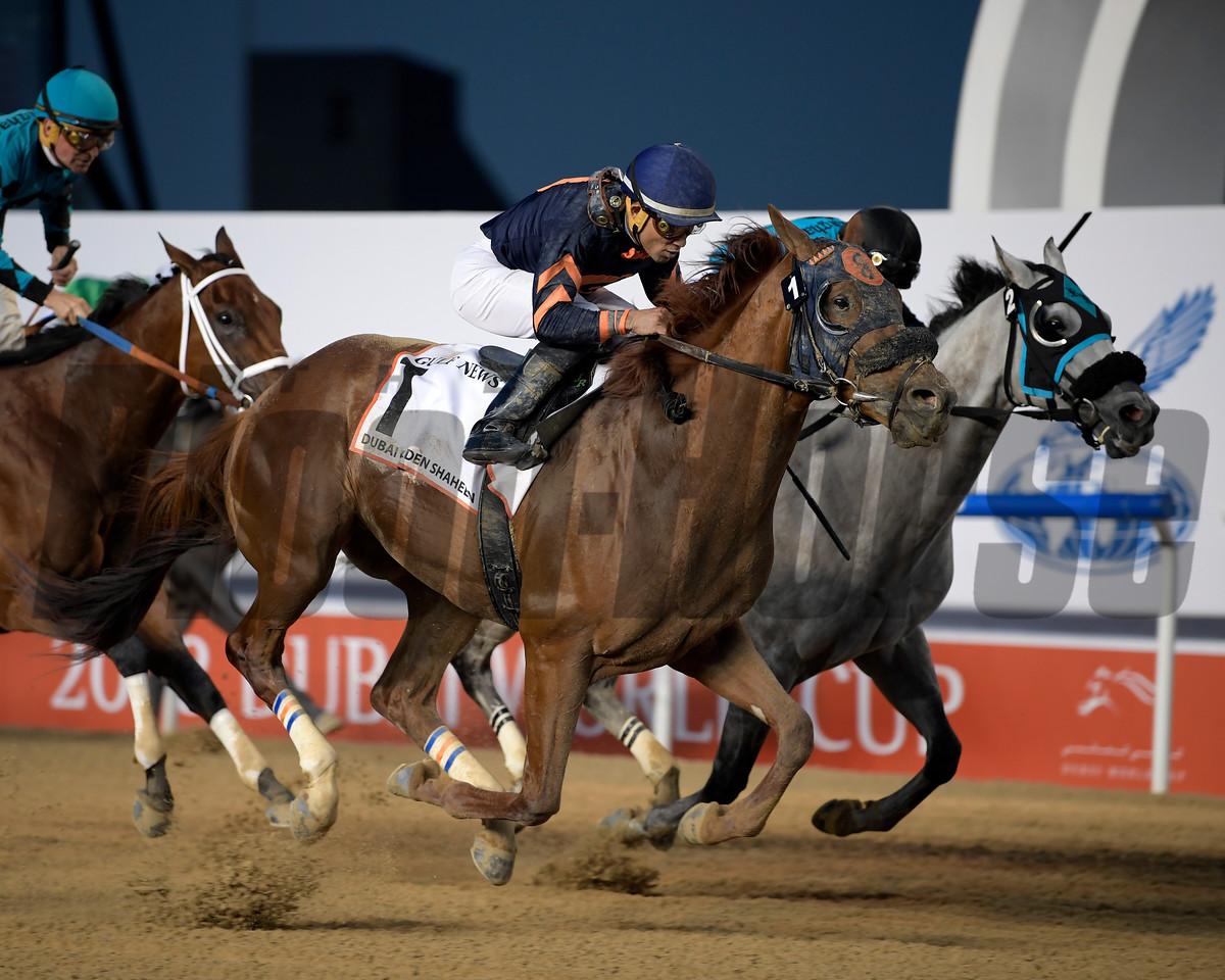 Mind Your Biscuits, Joel Rosario, win the Dubai Golden Shaheen, DWC 2018, Meydan Race Course, Dubai, UAE, 3-31-18, photo by Mathea Kelley/Dubai Racing Club
