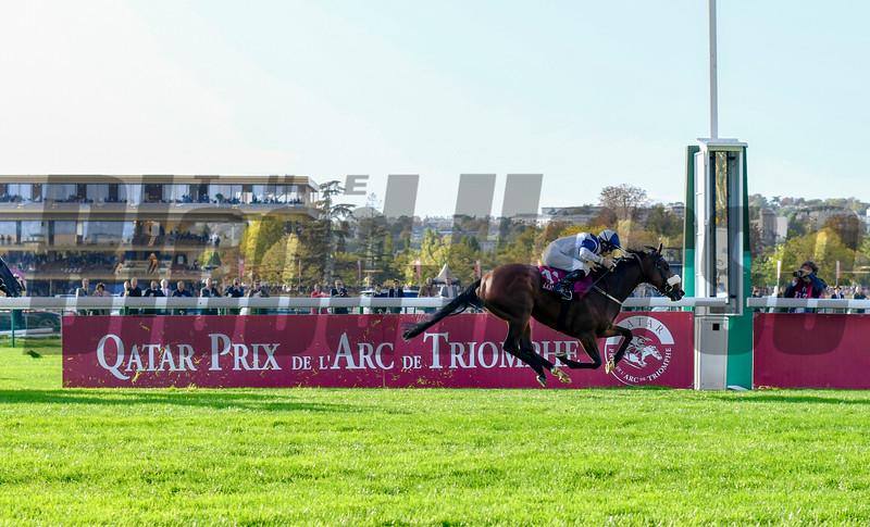 Glass Slippers and Tom Eaves, win the Prix De L'Abbaye, 10-6-19. Trained by Kevin Ryan, Mathea Kelley-Bloodhorse