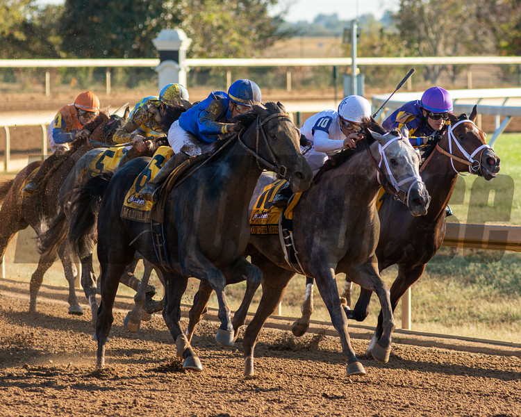 Maxfield, with Jose Ortiz aboard, charges ahead in the Claiborne Breeders' Futurity at Keeneland on October 5, 2019..