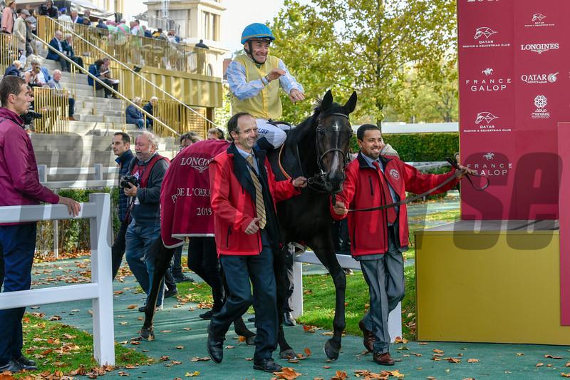 Villa Marina and Olivier Peslier, win the Longines Prix De L'Opera, 10-6-19. Trained by Parias Carlos-Laffon, Mathea Kelley-Bloodhorse