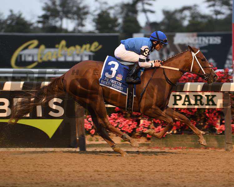 Wicked Whisper wins the 2019 Frizette Stakes at Belmont Park. Photo: Coglianese Photos/Susie Raisher