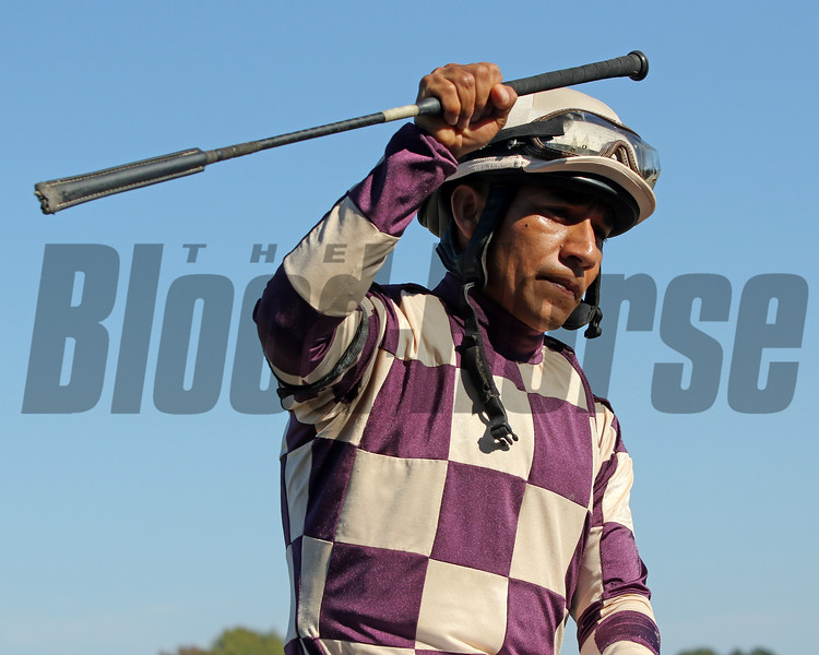 Paco Lopez celebrates after winning the Turf Amazon Stakes (Listed) aboard Rocky Policy at Parx on September 21, 2019. Photo By: Chad B. Harmon