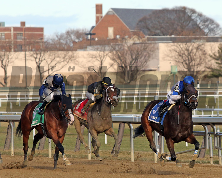 Spiced Perfection (#3) with Javier Castellano pull away in the stretch from Saguaro Row (#5) with Joel Rosario and Needs Supervision (#1) with Jose Ortiz in the 80th Running of The Go For Wand (GIII) at Aqueduct on December 7, 2019. Photo By: Chad B. Harmon