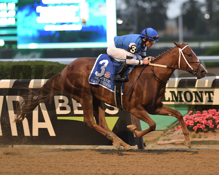 Wicked Whisper wins the 2019 Frizette Stakes at Belmont Park. Photo: Coglianese Photos/Elsa Lorieul