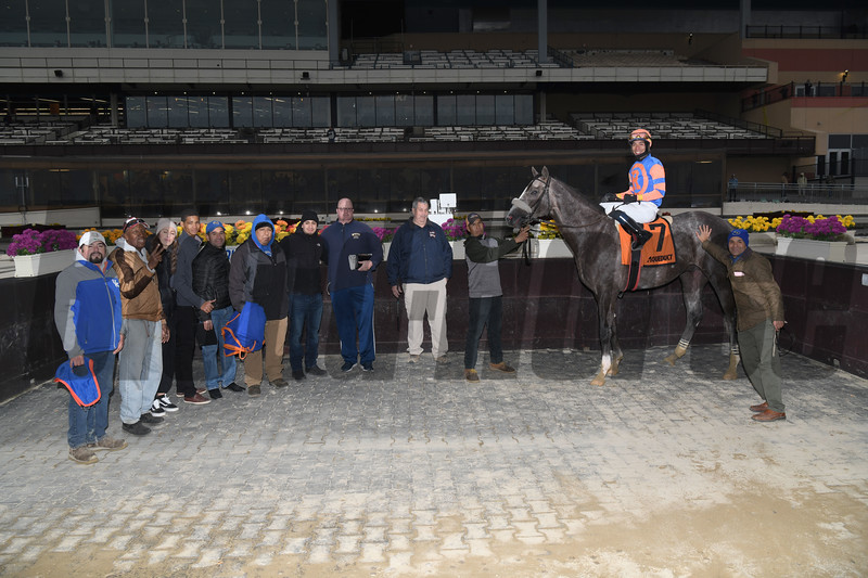 Dream Bigger wins the 2019 Notebook Stakes at Aqueduct. Photo: Coglianese Photos