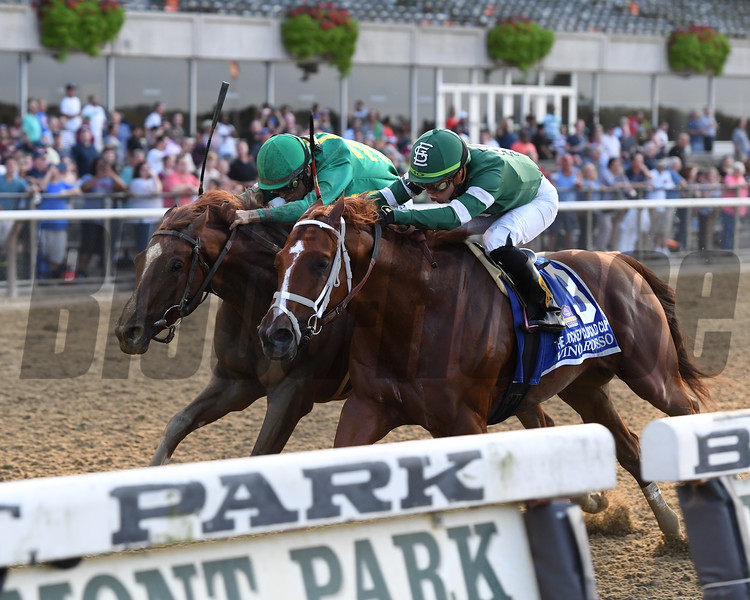 Code of Honor wins the Jockey Club Gold Cup after the disqualification of Vino Rosso, who finished first<br /> Coglianese Photos/Joe Labozzetta