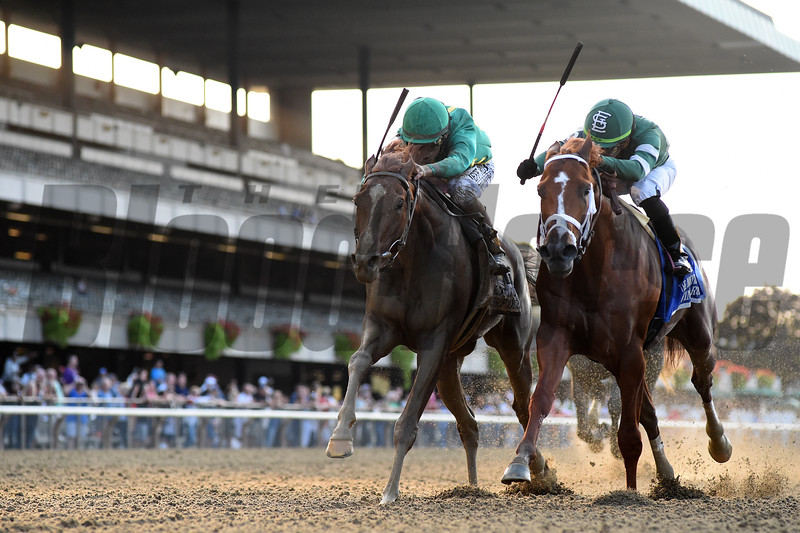 Code of Honor (left) wins the Jockey Club Gold Cup after the disqualification of Vino Rosso, who finished first                         <br /> Coglianese Photos