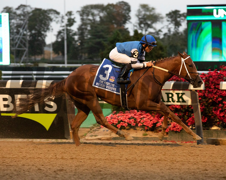 Wicked Whisper wins the 2019 Frizette Stakes at Belmont Park. Photo: Coglianese Photos/Janet Garaguso