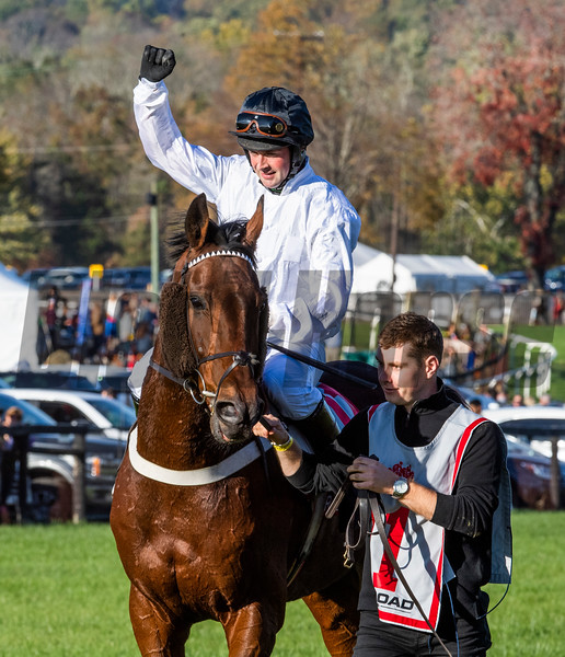 Jockey Nico De Boinvillle sits aboard Brain Power and reacts to winning  the Grand National G1 at Far Hills Race Meeting in Far Hills, N.J. October 19, 2019. Photo by (Skip Dickstein Photography)