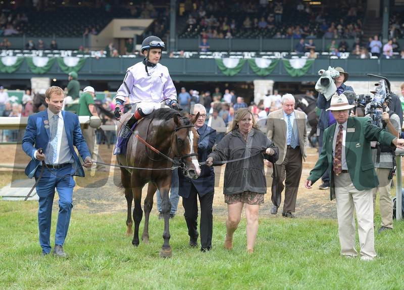 Peace Achieved wins the 2019 Dixiana Bourbon Stakes at Keeneland. Photo: Anne M. Eberhardt