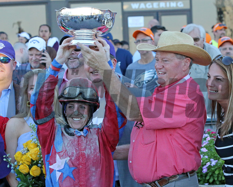 Sophie Doyle and Larry Jones after winning the 51st Running of The Cotillion Stakes (GI) at Parx on September 21, 2019. Photo By: Chad B. Harmon