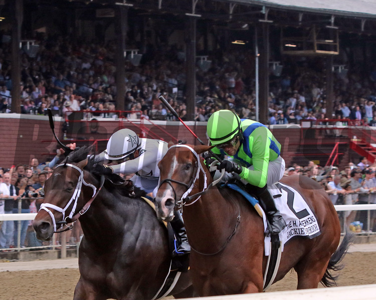 Jackie's Warrior with Joel Rosario win the 37th Running of The H. Allen Jerkens Memorial (GI) over Life Is Good with Mike Smith at Saratoga on August 28, 2021. Photo By: Chad B. Harmon