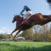 The Mean Queen ridden by Richard Condon moves over the final fence of the race to win the Grand National (GI) at the Far Hills Race Course during the 100th running of The Far Hills Race Meeting  Saturday Oct. 16, 2021 in Far Hills, NJ