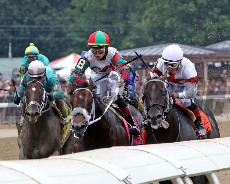 Yaupon with Ricardo Santana Jr. and Firenze Fire with Jose Ortiz in the stretch of the 42nd Running of The Forego (GI) at Saratoga on August 28, 2021. Photo By: Chad B. Harmon