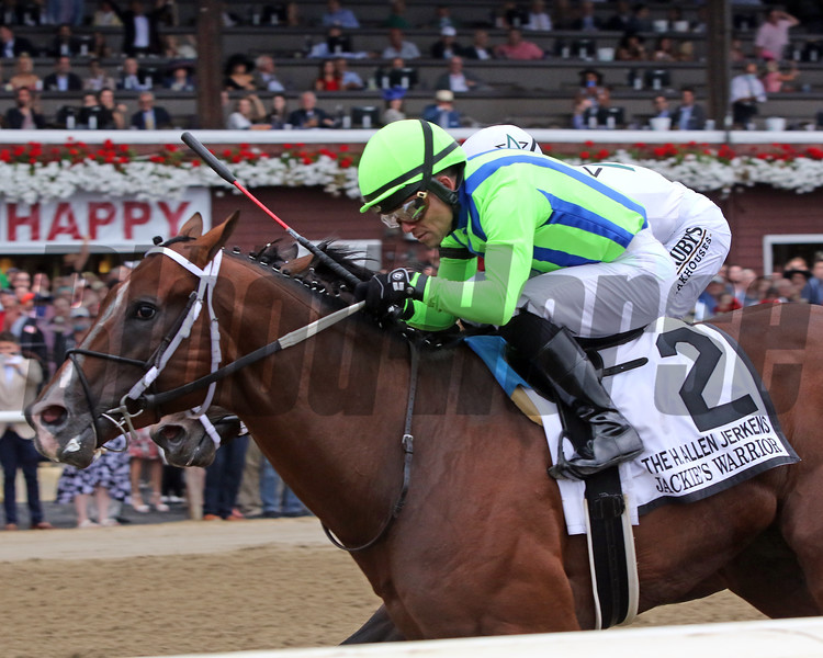Jackie's Warrior with Joel Rosario win the 37th Running of The H. Allen Jerkens Memorial (GI) at Saratoga on August 28, 2021. Photo By: Chad B. Harmon