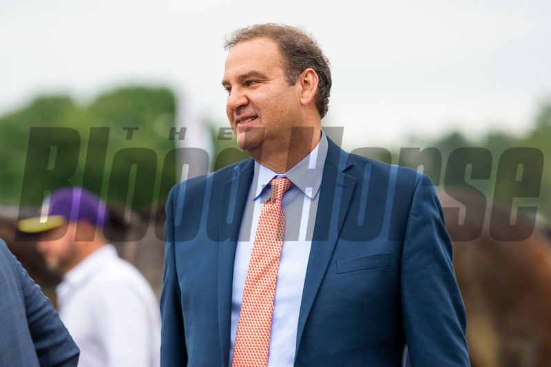 Fausto Gutierrez after Letruska with Irad Ortiz Jr. win the Personal Ensign Stakes (G1) at Saratoga Race Course in Saratoga Springs, N.Y., on Aug. 28, 2021.