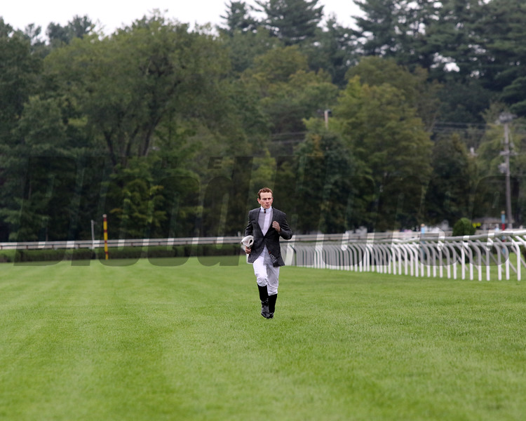 Ryan Moore runs the Inner Turf Course at Saratoga on August 28, 2021 prior to finishing second aboard Japan in the Sword Dancer. Photo By: Chad B. Harmon