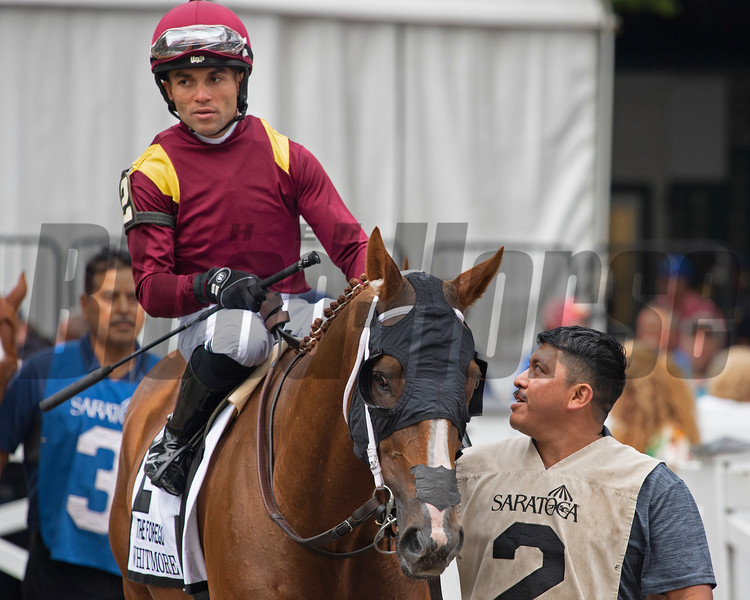 Whitmore with Joel Rosario in parade of Forego (G1)<br /> Scenes from New York Thoroughbred Breeders day during Travers week in Saratoga on Aug. 27, 2021.