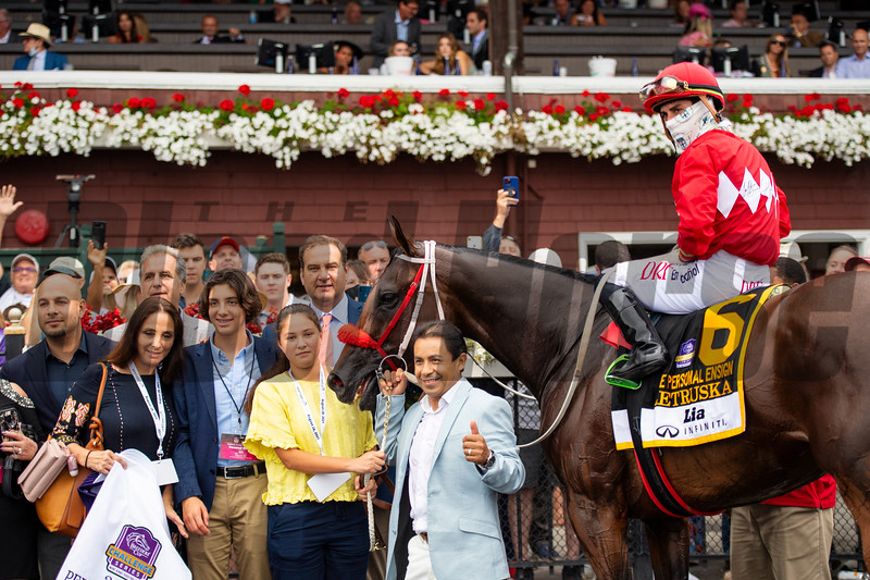 Andres Gutierrez, Ana Gutierrez, Fausto Gutierrez, Nick Martinez and winning connections in the winner's circle after Letruska with Irad Ortiz Jr. win the Personal Ensign Stakes (G1) at Saratoga Race Course in Saratoga Springs, N.Y., on Aug. 28, 2021.