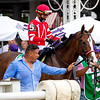 Sconsin with Irad Ortiz Jr. before the Ketel One Ballerina Handicap (G1) at Saratoga Race Course in Saratoga Springs, N.Y., on Aug. 28, 2021.