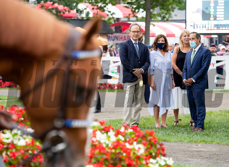 (L-R): Bill Hochul, Gov. Kathy Hochul, Sheila Heinze and Jeff Cannizzo watch King Fury in the paddock before the Runhappy Travers Stakes (G1) at Saratoga Race Course in Saratoga Springs, N.Y., on Aug. 28, 2021.