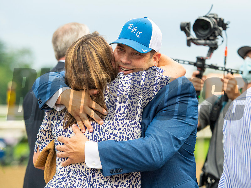 (L-R): Emma Brown and Brad H. Cox after Essential Quality with Luis Saez win the Runhappy Travers Stakes (G1) at Saratoga Race Course in Saratoga Springs, N.Y., on Aug. 28, 2021.