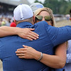 Trainer Brad Cox hugs Assistant Trainer Katie Tolbert after Essential Quality won the 152nd Running of The Travers (GI) at Saratoga on August 28, 2021. Photo By: Chad B. Harmon