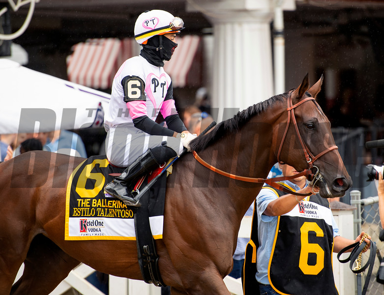 Estilo Talentoso with Jose L. Ortiz before the Ketel One Ballerina Handicap (G1) at Saratoga Race Course in Saratoga Springs, N.Y., on Aug. 28, 2021.