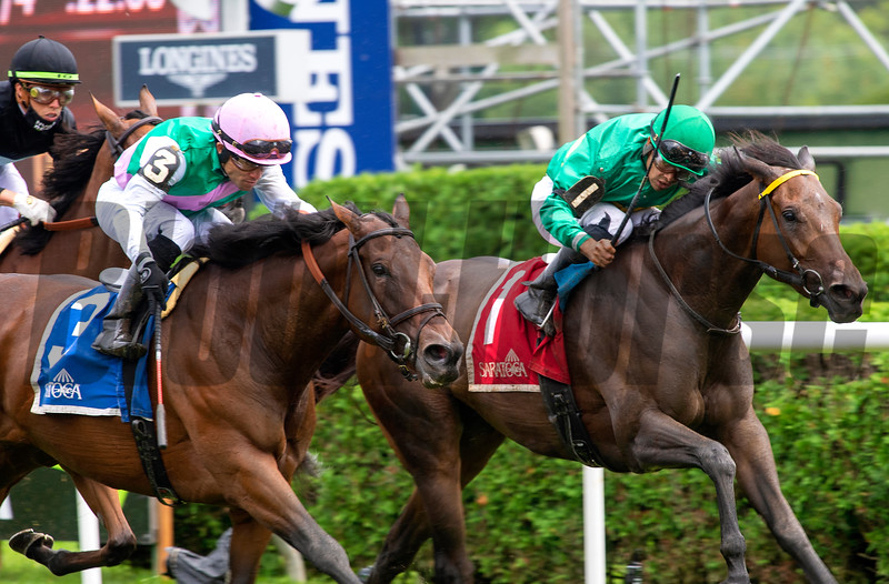Viadera with Joel Rosario wins the Ballston Spa (G2T) at Saratoga Race Course in Saratoga Springs, N.Y., on Aug. 28, 2021.