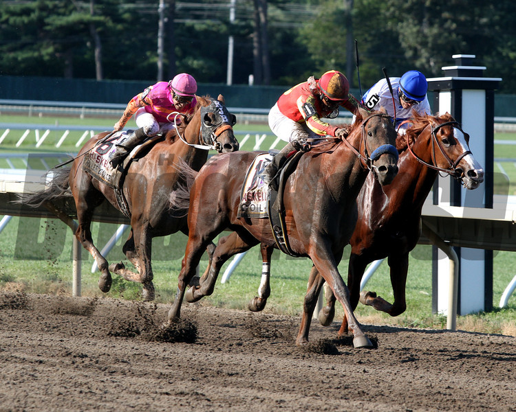 Coil w/Martin Garcia up goes by the Preakness winner Shackleford w/Jesus Castanon up and the Belmont winner Ruler on Ice w/Jose Valdivia Jr. up to win the 44th Running of the Haskell Invitational at Monmouth Park on July 31, 2011.<br /> Photo by Chad B. Harmon