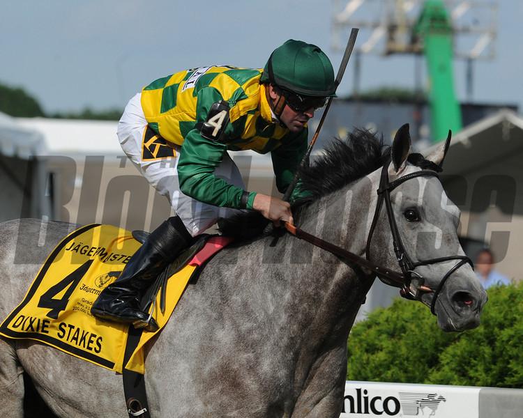 Paddy O'Prado, Kent Desormeaux up, wins the Dixie Stakes Pimlico Race Track, Baltimore, MD 5/20/11, photo by Mathea Kelley