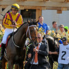 Caption: Grade III stakes winner Astrology with Mike Smith aboard in the paddock before the third race, an allowance optional claiming race for $80,000.<br /> Bits, figure eights, shadow rolls and other equipment and Shane Sellers at Churchill Downs on June 16, 2012, near Louisville, Ky.<br /> Anne M. Eberhardt photo