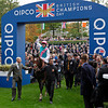 Racing from Ascot 20/10/12 Champion Stakes.<br /> Frankel (left) is led into the winners enclosure watched by Sir Henry Cecil in the hat<br /> Trevor Jones Photo