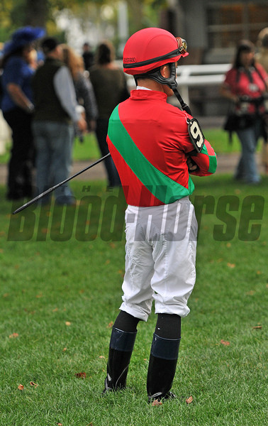 Joel Rosario waiting the paddock prior to the Jockey Club Gold Cup...<br /> © 2012 Rick Samuels/The Blood-Horse