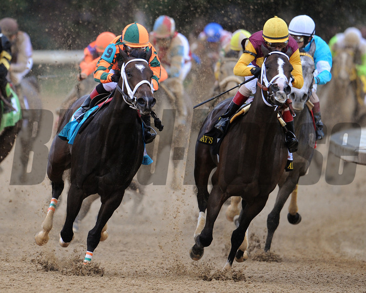 Rosie Napravnik aboard Believe You Can battles for the lead exiting the final turn of the 138th Kentucky Oaks at Churchill Downs.<br /> Photo by Courtney V. Bearse.