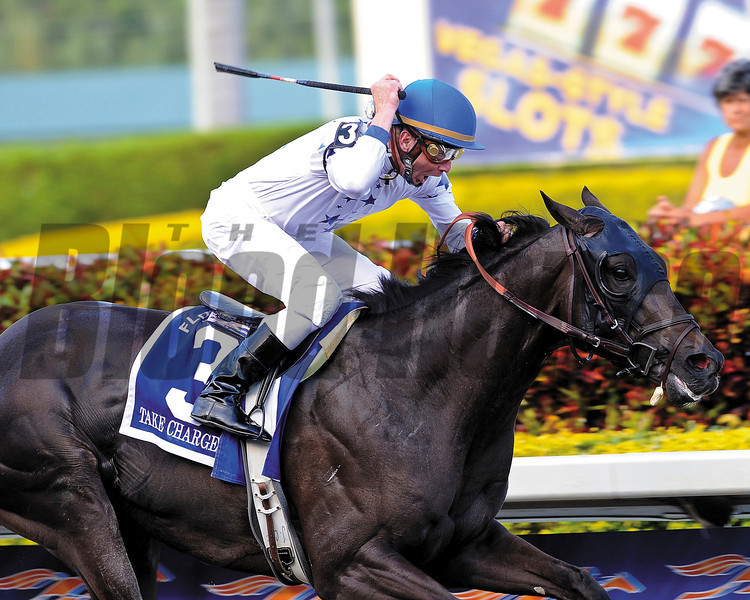 Take Charge Indy winning the 2012 Florida Derby at Gulfstream Park.<br /> Coglianese Photo