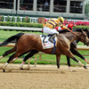 Successful Dan (left) overtakes Fort Larned to win the 2012 Alysheba Stakes.<br /> Photo by Dave Harmon