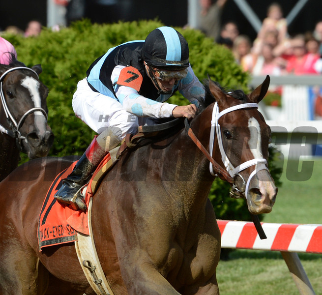 In Lingerie ridden by jockey John Velazquez powers past the field to win the88th running of The Black-Eyed Susan Stakes at Pimlico Race Course in Baltimore, MD May 18, 2012.<br /> Photo by Skip Dickstein