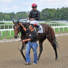 Point Of Entry, John Velazquez up, after winning the Gr1 Joe Hirsch Turf Classic at Belmont...<br /> Shug McGaughey trains the winner.<br /> © 2012 Rick Samuels/The Blood-Horse