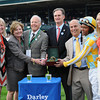 Trophy presentation, Spring in the Air wins the Darley Alcibiades, Trainer Mark Casse, Jockey Patrick Husbands, Jimmy Bell from Darley, Keeneland Race Track, Lexington, KY 10/5/12 photo by Mathea Kelley