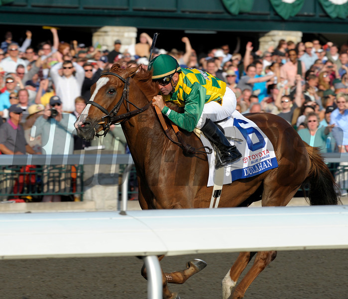 Caption:  <br />  Dullahan with Kent Desormeaux up wins the Toyota Blue Grass (gr. I)  on April 14, 2012, at Keeneland in Lexington, Ky.<br /> Photo by Anne M. Eberhardt