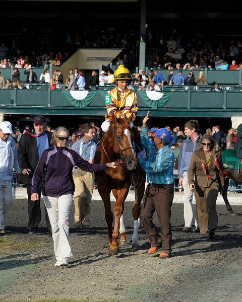 Caption: walkin to the winner's circle with trainer Charlie Lopresti back left/red tie and Amy Lopresti, right in beige suit/red scarf<br /> Wise Dan with Jose Lezcano up wins the Shadwell Turf Mile (gr. I) at Keeneland on Oct. 6, 2012.<br /> Keeneland<br /> ShadwellTurfMile1  image951<br /> Photo by Anne M. Eberhardt