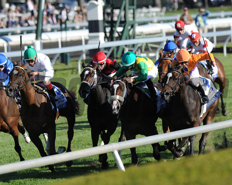 Moonwalk, Corey Lanerie up, wins the JP Morgan Chase Jessamine, Keeneland Race Track; Lexington, KY 10/11/12 photo by Mathea Kelley , orange silks