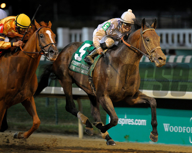 Caption: Ron the Greek wins with Wise Dan in second<br /> Ron the Greek with Jose Lezcano wins the Stephen Foster Handicap (gr. I)  at Churchill Downs on June 16, 2012, near Louisville, Ky.<br /> Anne M. Eberhardt photo