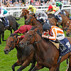 Racing from York 23/8/12  The Coolmore, Nunthorpe Stakes.<br /> Ortensia (orange and white stripes) wins from Spirit Quartz (clarat).