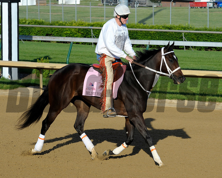 Caption:  Believe You Can with Larry Jones for the Oaks.<br /> Kentucky Derby and Kentucky Oaks contenders on the track at Churchill Downs near Louisville, Ky. on April 27, 2012.<br /> AMWorks4_27_12 image479<br /> PHoto by Anne M. Eberhardt